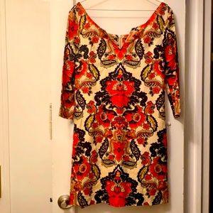 JCrew paisley linen dress size 0